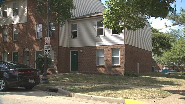 A child is in the hospital after a fire at a St. Louis apartment building in the 1500 block of Cochran Place on Saturday. (Credit: KMOV)