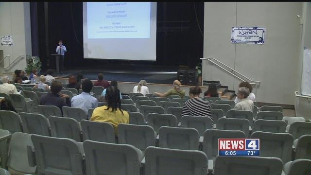 Community members attend a public forum at Vashon High School on Saturday, July 8, 2017 (Credit: KMOV)