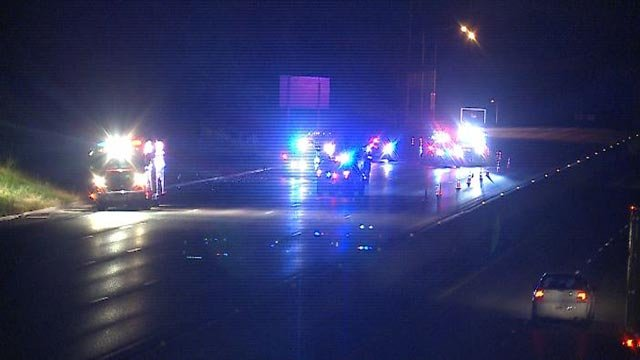 Police on eastbound I-44 following a shooting Sunday night (Credit: KMOV)