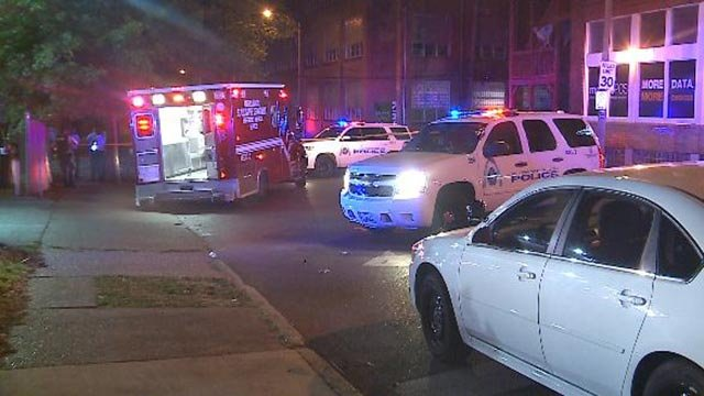 Police on South Jefferson after a double shooting Monday morning (Credit: KMOV)