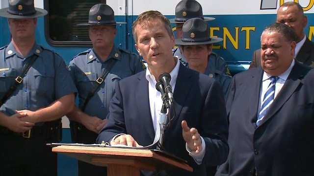 Missouri Governor Eric Greitens in St. Louis on July 10, 2017 to address fighting violent crime (KMOV)