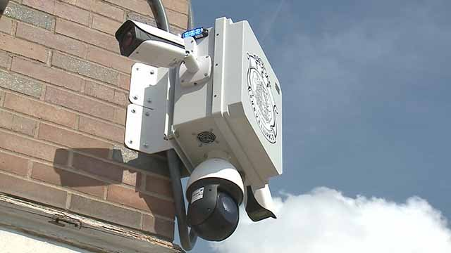 This security camera was installed at the Forest Park-DeBaliviere MetroLink station on Monday. Credit: KMOV