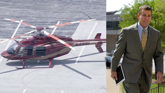 August Busch IV (R) and and scene of the helicopter landing in Swansea (L)  (AP Photo)