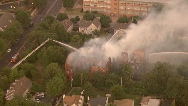Skyzoom4 over the Clemens House after a fire Wednesday morning (Credit: KMOV)
