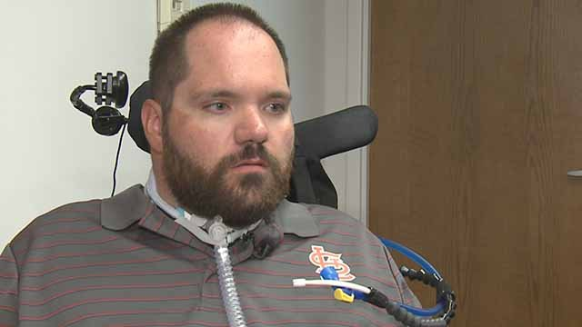 Ballwin police officer Mike Flamion spoke to News 4 one year after being shot in the line of duty. Credit: KMOV