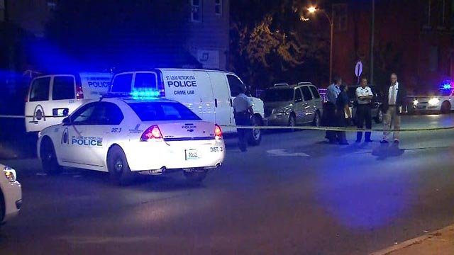 Police at South Grand and Montana in South City Thursday morning after a man was shot (Credit: KMOV)