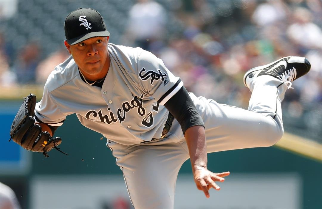 Chicago White Sox pitcher Jose Quintana throws against the Detroit Tigers in a baseball game Thursday, Aug. 4, 2016 in Detroit. (AP Photo/Paul Sancya)