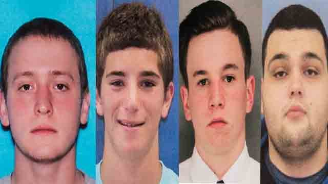 This combination of undated photos provided by the Bucks County District Attorney's Office shows four men who went missing last week: Tom Meo, top left; Jimi Tar Patrick, bottom left; Dean Finocchiaro, top right; and Mark Sturgis, bottom right. (AP Photo)