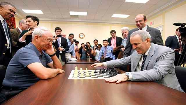 World Chess Champion Garry Kasparov, right, and Rex Sinquefield, founder and president of the Board of Directors of the St. Louis Chess Club (Photo by Paul Morigi/Invision for Invision for Saint Louis Chess Club/AP Images)