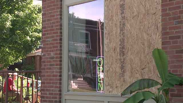 Hartford Coffee in Tower Grove was hit by vandals likely armed with BB guns on Saturday, July 16, 2017 (Credit: KMOV)