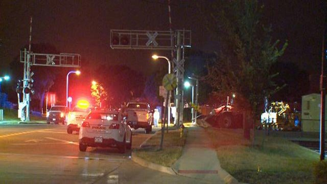 Maplewood Police at the MetroLink crossing on Sunnen Drive after maintenance equipment collided Tuesday (Credit: KMOV)