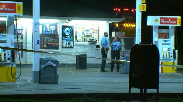Police at the Shell gas station at Grand and Alberta Thursday morning after a man was shot (Credit: KMOV)