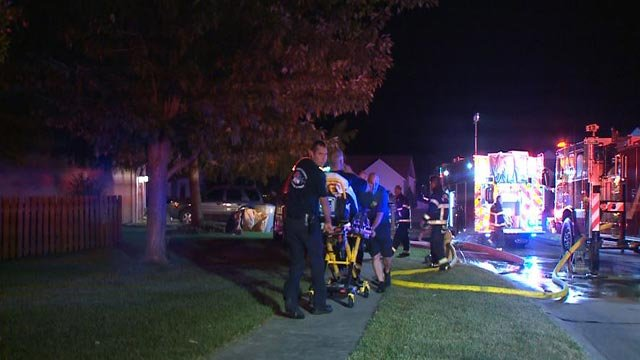 A firefighter was treated for heat exhaustion in O'Fallon, Mo. (Credit :KMOV)