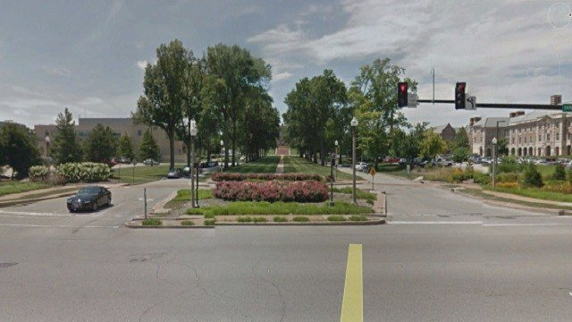 For generations, the tree-lined roadway leading up to Brookings Hall on the Washington University Campus was the image that came to mind when people thought of the university. (Credit: Google Earth)
