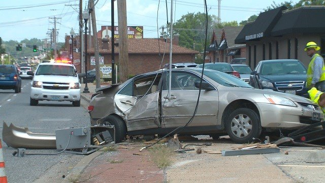 Two suspects wrecked at Florissant and Patricia following a police chase. (Credit: KMOV)