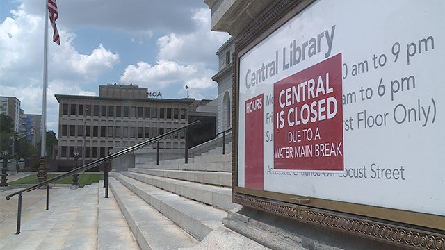 Water main break, excessive heat forces homeless shelter, libraries to shut down. (Credit: KMOV)