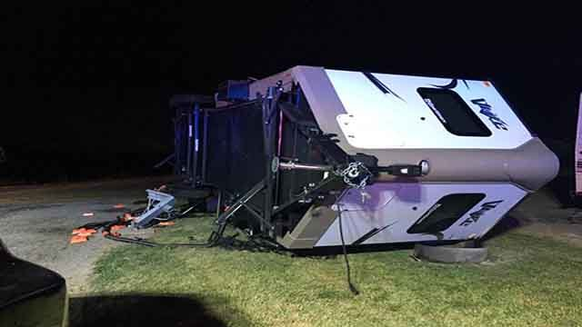 A family was trapped after their RV blew over at the 370 Lakeside RV Campground on Sunday, July 23, 2017 (Credit: Central County Fire and Rescue)