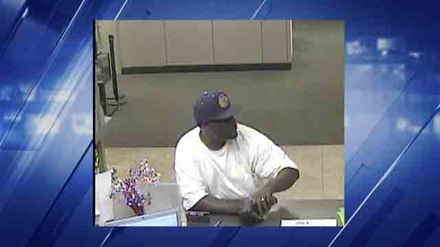 Belleville police are searching for this man who allegedly robbed a Regions Bank on Saturday, July 22, 2017 (Credit: Belleville Police Department)