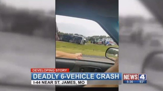 One person is dead after a six vehicle accident occurred on eastbound Interstate 44 near exit 195 Sunday afternoon. (Viewer video)