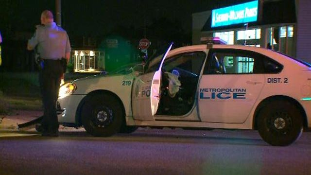 A police cruiser collided with another vehicle at Arsenal and Watson in South City Monday morning (Credit: KMOV)