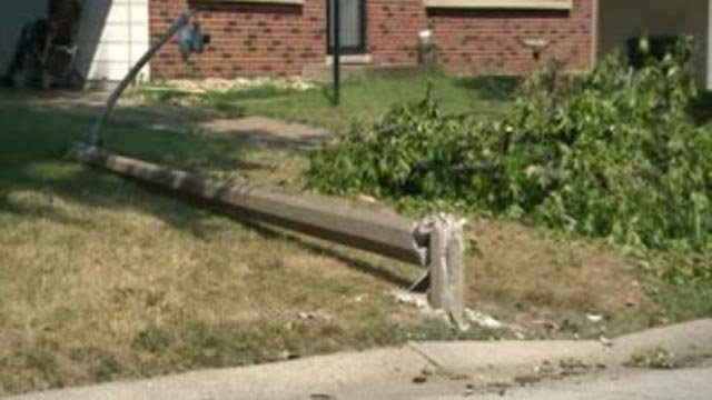 A downed tree and light following storms early Sunday (Credit: KMOV)