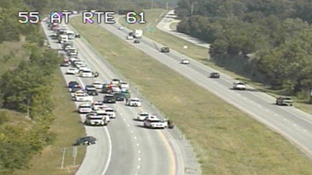 Heavy police presence on I-55 at Route 61 Monday morning (Credit: MoDOT)
