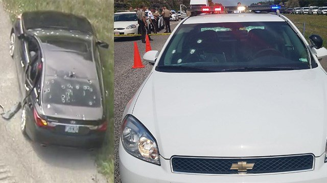 The suspect's vehicle & St. Louis County Police cruiser were hit by gunfire (Credit: KMOV)