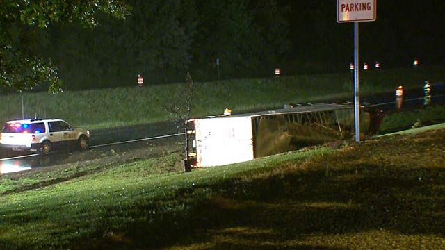 A semi-truck on its side in the Highland, Illinois area Thursday morning (Credit: KMOV)