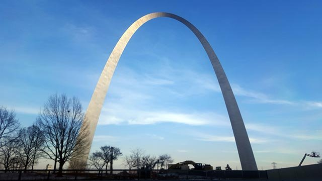 This photo shows a view of the Gateway Arch (Credit: AP Photo / Estelle Doro)