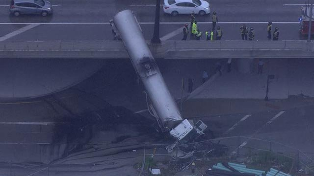 Tanker truck off the overpass of EB I-44 at Washington Thursday (Credit: KMOV)