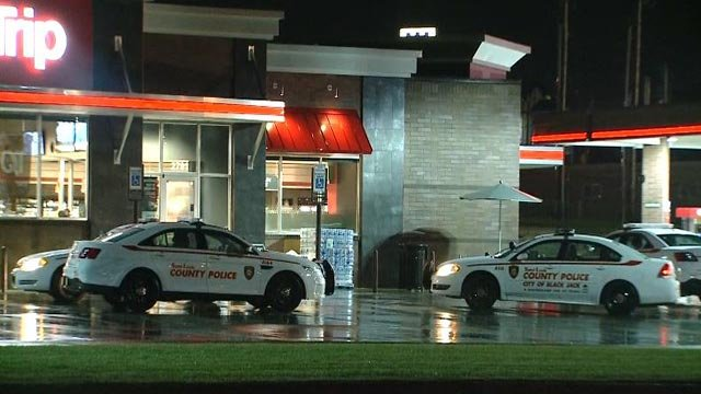 St. Louis County police cruiser outside the QuikTrip in the 2790 block of Dunn Road after a woman was robbed Thursday (Credit: KMOV)