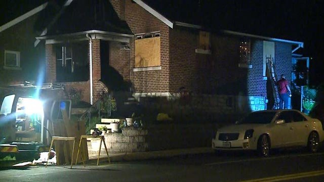 A home in the 7000 block of Plymouth caught fire Thursday evening (Credit: KMOV)