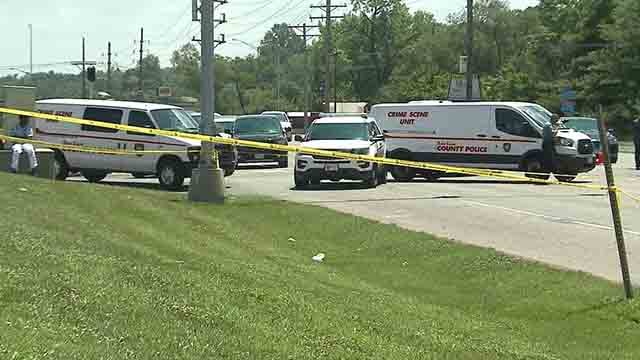 St. Louis County police investigate an accident at New Halls Ferry on Friday, July 28, 2017 (Credit: KMOV)