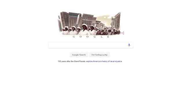 The Google Doodle on Friday, July 28, 2017, celebrated the 100th anniversary of the Silent Parade (Credit: Google)