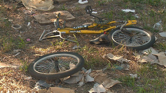 2 children were struck by a car while riding a bicycle in north St. Louis Saturday evening. (Credit: KMOV)