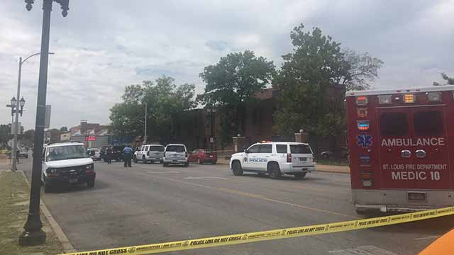 A man and woman were shot near intersection of MLK and Semple Tuesday afternoon. A 3-year-old child was in the car with them but wasn't injured. Credit: KMOV