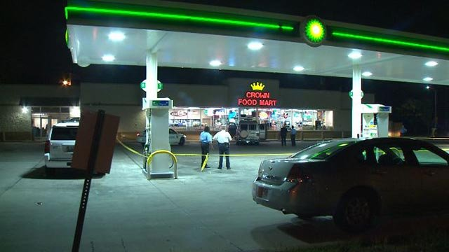 Police at a gas station after two shooting victims arrived Wednesday morning (Credit: KMOV)