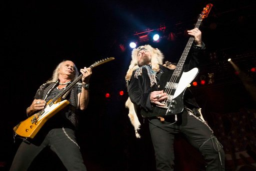 Rickey Medlocke and Johnny Colt with Lynyrd Skynyrd performs during CROCK FEST at Verizon Wireless Amphitheatre on Friday, June 19, 2015, in Atlanta. (Photo by Robb D. Cohen/Invision/AP)