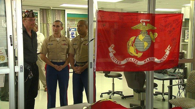 Marines from all over came to visit Phillip Rochette at Barnes-Jewish Hospital. (Credit: KMOV)