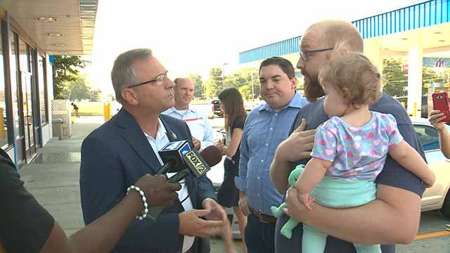 Chris Baker. confronted Illinois Congressman Mike Bost  about healthcare in Cahokia on Wednesday. Credit: KMOV