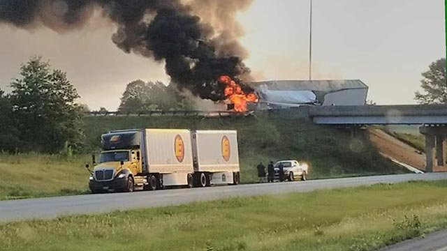 A semi-truck caught fire near Pocahontas, Illinois Thursday (Credit: John Givens)