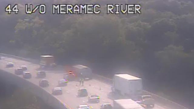 Crews on EB I-44 at the Meramec River after pot holes were found on the road (Credit: MoDOT)