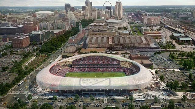 A rendering of the proposed MLS stadium that would be built near Union Station. Credit: MLS
