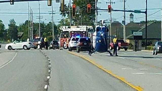 An ARCH Helicopter landed on Route 157 in Edwardsville following a crash Friday (Credit: KMOV)