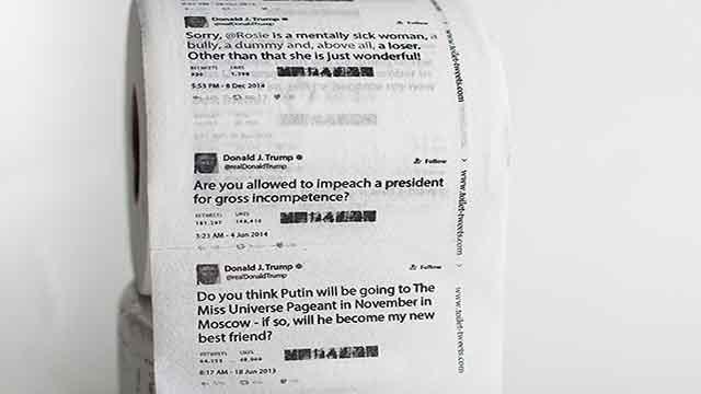 Amazon seller 'Toilet Tweets' is selling toilet paper with President Trump's tweets printed on it (Credit: Toilet Tweets)