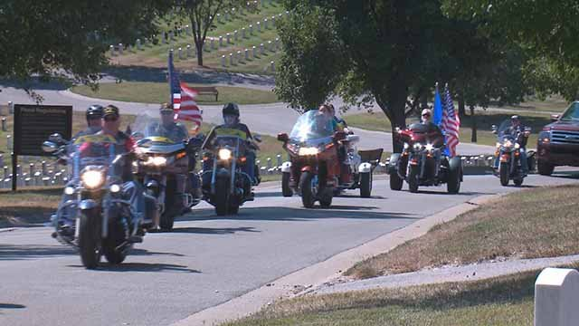 Motorcycles took to the streets to honor Vietnam veteran John Beard. Credit: KMOV