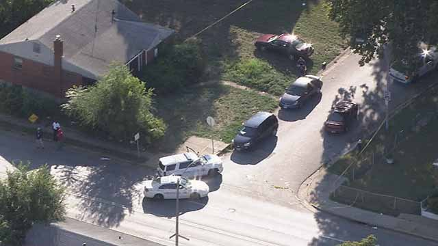 Skyzoom 4 above the scene of a triple shooting near the intersection of Goodfellow and Sherry. Credit: KMOV