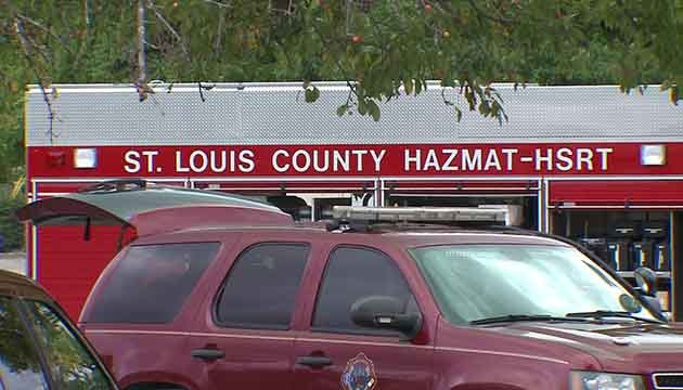 Hazmat crews were called to the scene of a hazardous material spill in Kirkwood on Friday, August 11, 2017 (Credit: KMOV)