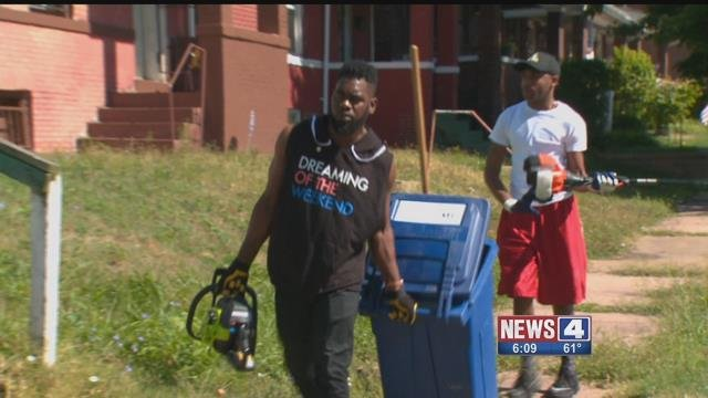 City leaders spent Saturday, August 12, 2017 cleaning up several neighborhoods in North St. Louis (Credit: KMOV)