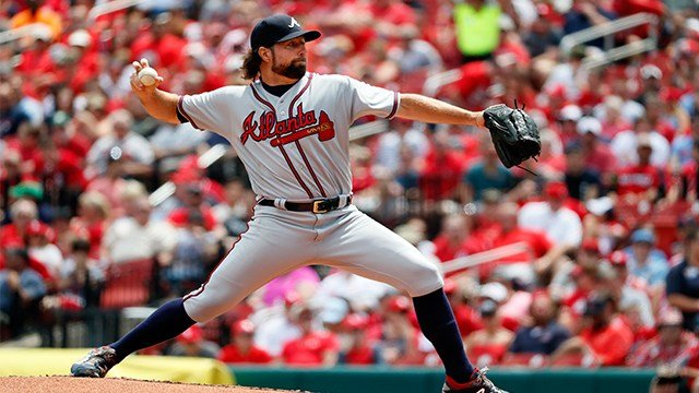 Atlanta Braves starting pitcher R.A. Dickey throws during the first inning of a baseball game against the St. Louis Cardinals, Sunday, Aug. 13, 2017, in St. Louis. (AP)